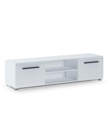 Mueble TV DREAM, modulo moderno para salón comedor, en lacado Blanco Brillo